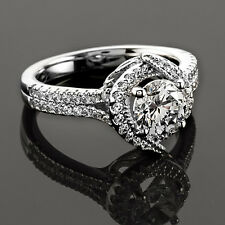 1 CT Diamond Engagement Ring Round Cut D/VS2 14K White Gold
