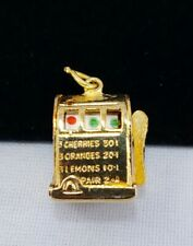 WORKING SPINS Casino One Arm Bandit Slot Pull Machine Charm pendant for necklace