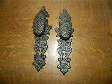 Set/2 Old Cast Iron Antique Style Door Knob Gate Handle Pulls 11