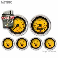 Gauge Face Set Retro Metric Pinstripe Yellow Black Vintage Needles Chrome Rings