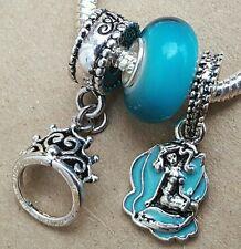 Disney Princess Ariel Mermaid Shell Tiara Teal Murano Glass Bead European Charms