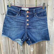 Abercrombie Kids Girls Blue Button Fly High Rise Denim Jean Shorts Size 13/14
