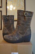 NEW Women Born Uke Mid Calf Brown Leather Boots Wedge Platform Animal Print S 6