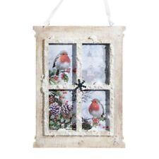 "New!~Raz Imports~8"" Wood Winter Bird Window Frame Scene Ornament~Christmas/Snow"