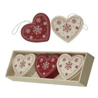 Wooden red white shabby chic christmas decorations tree star heart snowflakes