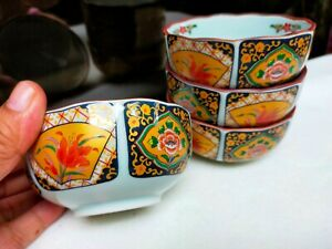 Branded JAPAN Imari Oriental Design Print Small Bowl Collection Hand-Painted 4pc