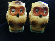 Vintage Pair of Owl Bird Cage Feeders, Milk Glass Hand Painted, Japan