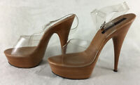 Lucious Women's Spike Heels Stripper Shoes Clear Straps Very Sexy Size 12