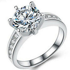 Lovely Engagement Ring With 3.69 ctw CZ in Platinum Over 925 Sterling silver