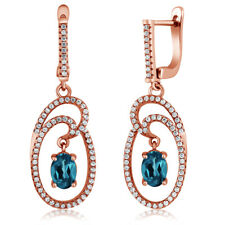 3.24 Ct Oval London Blue Topaz 18K Rose Gold Plated Silver Earrings
