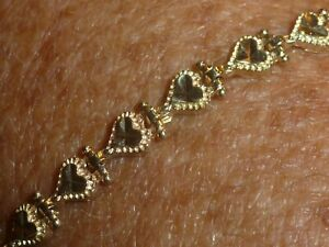 "10K SOLID YELLOW GOLD DIAMOND-CUT ""PETITE HEARTS"" BRACELET- 6 1/2 "" - 4.65 GRAMS"