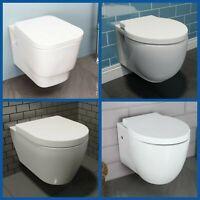 Bathroom Wall Hung Toilet Pan Round WC Soft Close Toilet Seat Modern White