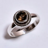925 Sterling Silver Ring Size US 8.5, Natural Smoky Handcrafted Jewelry R3711