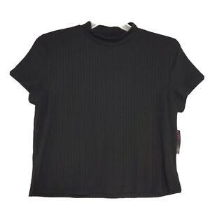 NOBO NWT 2 Pcs Outfit Jrs 3XL (21) XXL Black Ribbed SS Tee Wide Leg Pants NEW