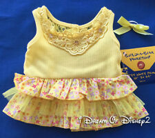 NEW Build-A-Bear YELLOW CALICO & CROCHET DRESS with BOW Retired Teddy Clothes