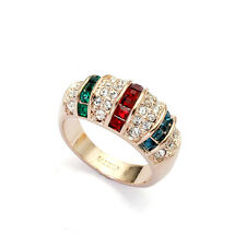 LARGE 18K GOLD PLATED EMERALD GREEN & RUBY RED CZ & AUSTRIAN CRYSTAL BAND RING