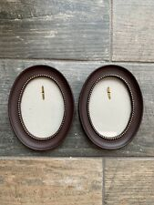 Miniature Pair Oval Gold Detail Brown Coloured Frame Picture Photo Wall Hanging