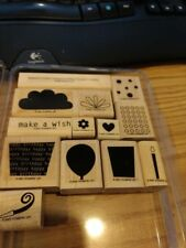 Stampin' Up! Wood Mounted Stamp Set Big Bold Birthday Rubber 13 stamps with box