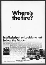 """1965 Mack Diesel Fire Engine Truck photo """"Where's the Fire?"""" vintage print ad"""