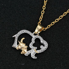 New Women Animal Elephant Long Chain Crystal Silver Plated Pendant Necklace