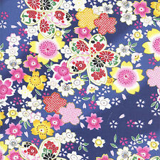 CHERRY BLOSSOM DISPLAY: Blue Asian Japanese Quilt Fabric - By The 1/2 Yd.