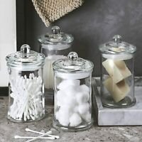 Clear Glass Apothecary Jars-Cotton Jar-Bathroom Storage Organizer Canisters Set