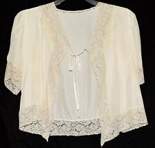 Vintage Cream Satin & Beige Floral Wide Lace Bed Jacket with Tie Closure Sz M
