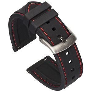 Quick Release Silicone Watch Band - Black / Red Stitching - 18, 20, 22 or 24mm