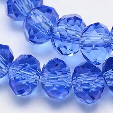 100 piezas Cristal De Cristal Facetas Rondelle Cuentas 6mm Azul Zafiro