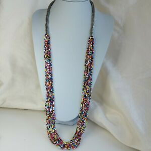 Colourful Statement Boho Necklace, Long Carnival, Festival Rainbow Necklace