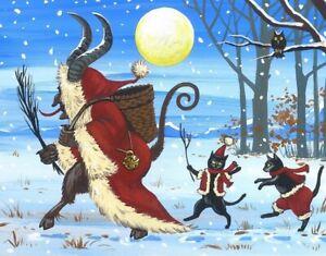 11x14 PRINT OF PAINTING RYTA CHRISTMAS KRAMPUS BLACK CAT GERMAN VINTAGE STYLE