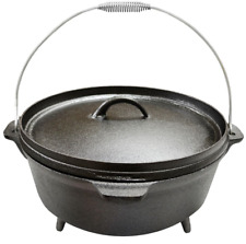 Camping Cooker Cast Iron Preseasoned Dutch Oven 6 Quart 12 Inch Lid with Handle