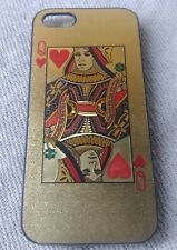 Queen Of Hearts Gold Glitter Playing Card CLEAR PHONE CASE COVER iPHONE SE 5S