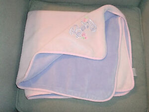 SUMMER BABY GIRL BLANKET PINK LAVENDER LILAC PURPLE FLEECE PLUSH THICK FLOWER