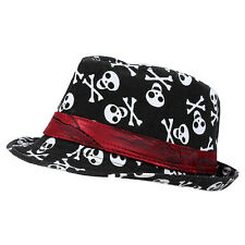 Kids Baby Boys Girls Cap Fedora Hat - Black with Skull Pattern BF