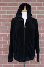 JUICY COUTURE Black Women's Jacket Hoodie W/ Sequin Logo On Back Size XL