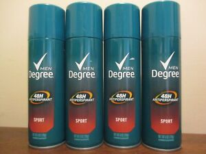 Lot of 4 Degree Men Sport Antiperspirant Deodorant Spray 48 H 6oz Aerosol 2020