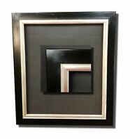 Bilderrahmen Schwarz Silber Rahmen Gemälderahmen Spiegelrahmen  Bild  50x60