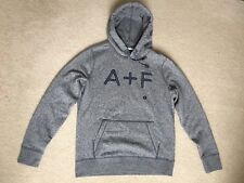 """NWT Abercrombie & Fitch A&F Men """"A+F"""" Logo Graphic Hoodie in Heather Gray XS #1v"""