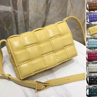 2020 New! Real Leather Padded Woven Quilted Clutch Bag Shoulder Purse Crossbody