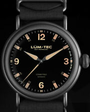 Lum-Tec Watch - Combat Field X2 Mens Automatic Black Nylon Brown Leather Bands