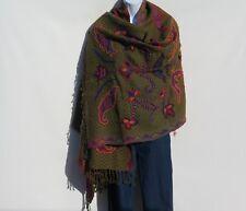 Yak/Sheep Wool Blend Stitched Embroidery Shawl Handcrafted Nepal Khaki & Black