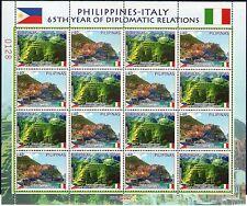 2013 Italia Congiunta Filippine minifoglio Cinque Terre rapporti diplomatici MNH