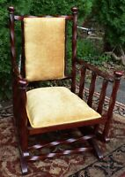1880s George Hunzinger Twisted Red Mahogany Platform Rocker Rocking Chair