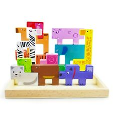 Wooden Puzzle Shape Sorter Board Animal Blocks Learning Toddler Kids Xmas Gift