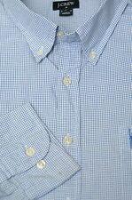 J. Crew Men's White & Blue Check Cotton Casual Shirt XL XLarge