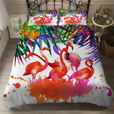 Flamingo Floral Green Leaves Bedding Set Duvet Cover and Pillowcase Twin Queen