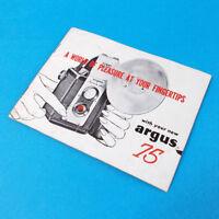 Vintage Argus 75 Camera Owner's Manual Instruction User's Guide Booklet 1950s