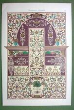 RENAISSANCE Ceiling Wall Paintings Germany Urach Castle- 1880s Color Litho Print