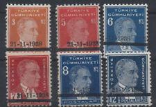 1938 TURKEY ATATÜRK MOURNING ISSUE COMPLETE SET MNH** LUX